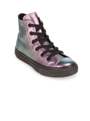 Kids Iridescent Leather Sneakers