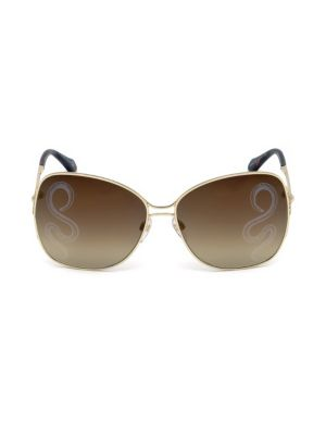 ROBERTO CAVALLI Gradient Butterfly Sunglasses W/ Snake Lenses in Gold
