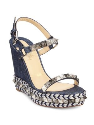 CHRISTIAN LOUBOUTIN Pyraclou Spike Denim Wedge Red Sole Sandal in Blue