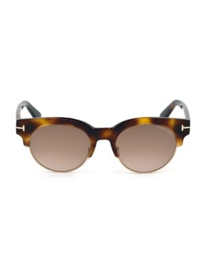 Henri 52Mm Round Cat-Eye Sunglasses, Havana