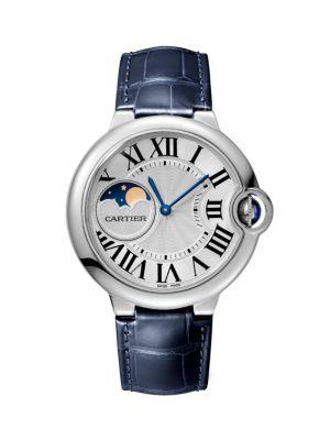 Cartier Ballon Bleu de Cartier Moon Phase Stainless Steel & Blue Alligator-Strap Watch