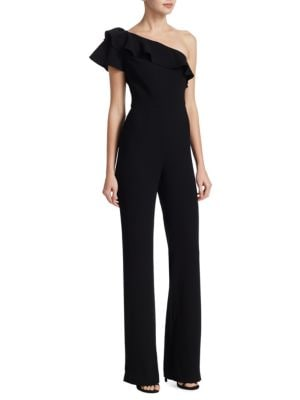 "Image of Jumpsuit with frilled overlay. One-shoulder neckline. Short sleeve. Side zip closure. Lined. About 64"" from shoulder to hem. Polyester. Dry clean. Imported. Model shown is 5'10"" (177cm) wearing US size 2."
