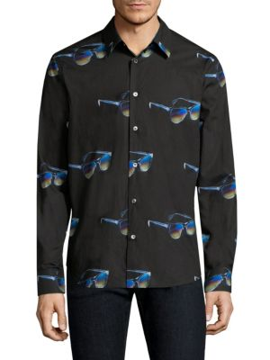 Image of Rich cotton with retro sunglasses print. Spread collar. Long sleeves. Buttoned barrel cuffs. Button front. Shirttail hem. Cotton. Machine wash. Made in Italy.