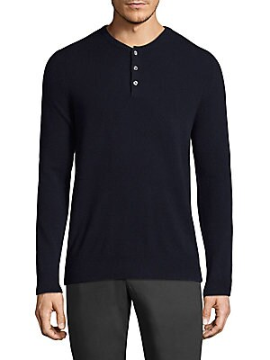 """Image of Casual cashmere henley featuring rib-knit details Henley neckline Long sleeves Rib-knit neck, cuffs, and hem Three-button placket About 27.5"""" from shoulder to hem Cashmere Dry clean Imported. Men Adv Contemp - Contemporary Tops > Saks Fifth Avenue. Bonobo"""