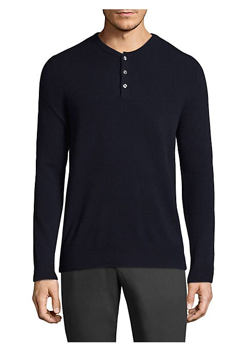 "Image of Casual cashmere henley featuring rib-knit details. Henley neckline. Long sleeves. Rib-knit neck, cuffs, and hem. Three-button placket. About 27.5"" from shoulder to hem. Cashmere. Dry clean. Imported."