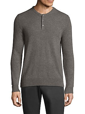 """Image of Casual cashmere henley featuring rib-knit details Henley neckline Long sleeves Rib-knit neck, cuffs, and hem Three-button placket About 28"""" from shoulder to hem Cashmere Dry clean Imported. Men Adv Contemp - Contemporary Tops. Bonobos. Color: Fossil. Size"""
