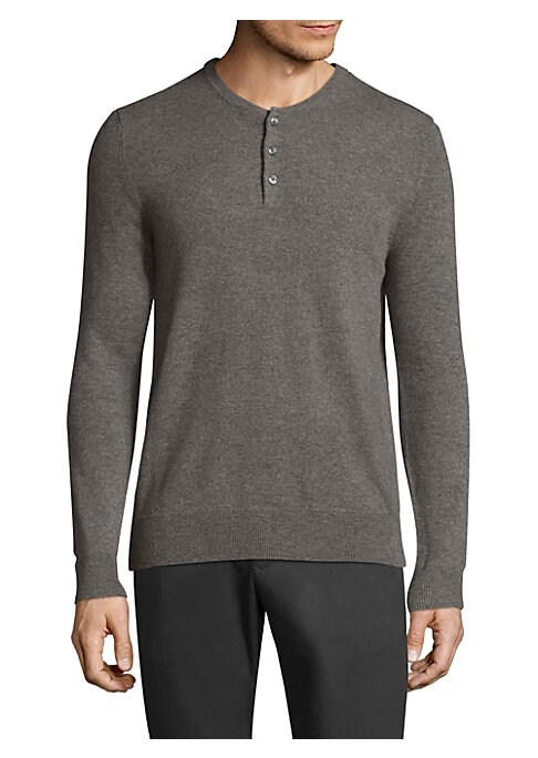 "Image of Casual cashmere henley featuring rib-knit details. Henley neckline. Long sleeves. Rib-knit neck, cuffs, and hem. Three-button placket. About 28"" from shoulder to hem. Cashmere. Dry clean. Imported."