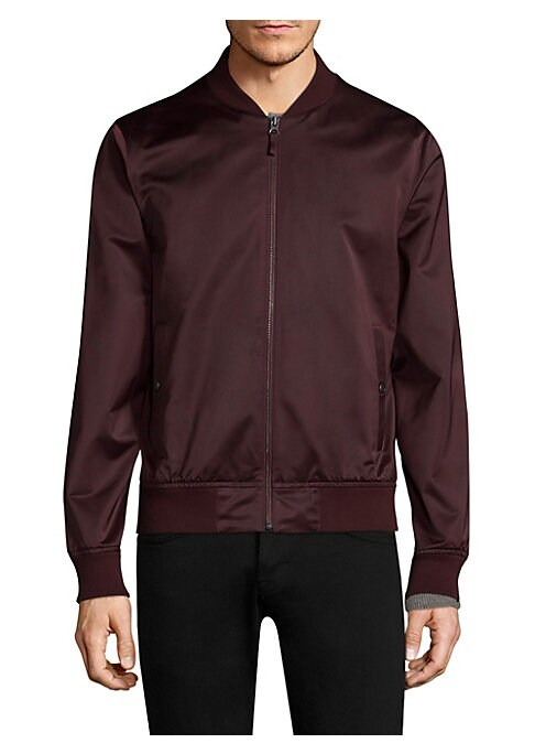 """Image of Classic bomber jacket featuring rib-knit detail. Stand collar. Long sleeves. Rib-knit at neck, cuffs, and hem. Exposed front zip. Side snap welt pockets. About 25.5"""" from shoulder to hem. Polyester. Machine wash. Imported."""