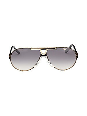 Image of Aviator sunglasses with metallic frames and temples 135mm temple length Saddle nose bridge Metal Imported. Men Accessories - Men Sunglasses. Cazal. Color: Black.