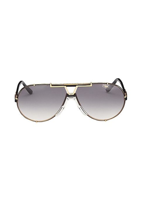 Image of Aviator sunglasses with metallic frames and temples.135mm temple length. Saddle nose bridge. Metal. Imported.