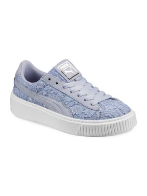 019e5b04f54 Puma Women S Basket Classic Floral Lace Lace Up Platform Sneakers In  Gray Blue