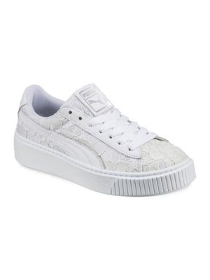 Women'S Basket Classic Floral Lace Lace Up Platform Sneakers, White