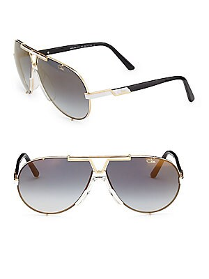 Image of Aviator sunglasses with half design on rim 135mm temple length Saddle nose bridge Metal Imported. Men Accessories - Men Sunglasses > Saks Fifth Avenue. Cazal. Color: Gold.