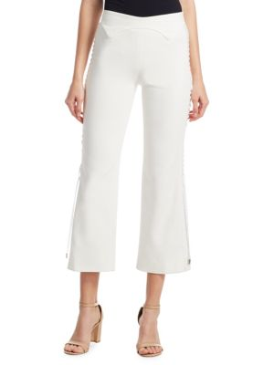 Lace-Up Cropped Crepe Flared Pants, Ivory