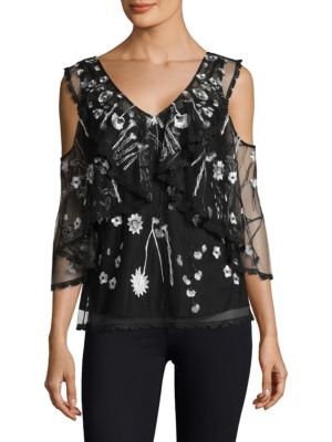 "Image of Embroidered lace cold shoulder blouse with overlay top. Deep V-neck. Cold-shoulders. Three-quarter sleeves. Concealed back zip. Lined. About 24"" from shoulder to hem. Polyester. Dry clean. Imported. Model shown is 5'10"" (177cm) wearing a size Small."