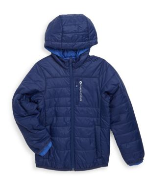 Image of Hooded jacket in quilted construction. Attached hood. Long sleeves. Elasticized cuffs. Exposed front zip. Chest zip pocket. Front slip pockets. Nylon. Machine wash. Imported.
