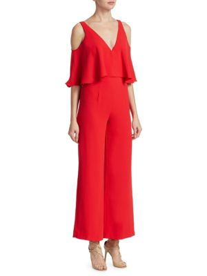 "Image of Jumpsuit with frilled overlay. Deep V-neck. Cold-shoulders. Short sleeves. Concealed back zip. Lined. About 57"" from shoulder to hem. Polyester. Dry clean. Imported. Model shown is 5'10"" (177cm) wearing US size 2."