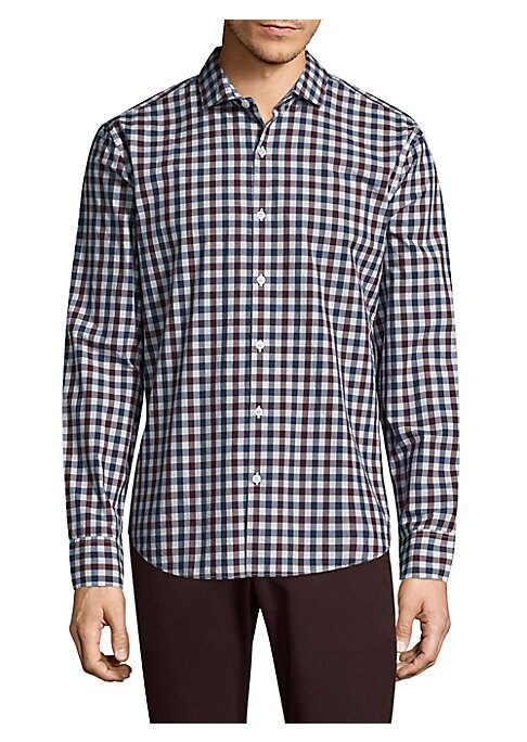 "Image of Cotton button-down shirt with allover pattern. Point collar. Long sleeves. Buttoned barrel cuffs. Button front. Back yoke. Curved hem. Slim-fit. About 30"" from shoulder to hem. Cotton. Machine wash. Imported."