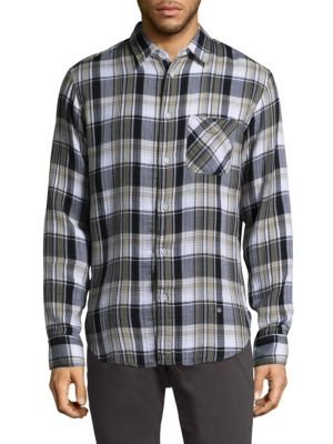 Image of .Cotton button-down shirt featuring pattern layout. .Point collar. .Long sleeves. .Buttoned barrel cuffs. .Button front. .Chest patch pockets. .Shirttail hem. .Back yoke. .Cotton. .Machine wash. .Imported. .