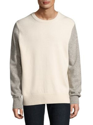 """Image of .Wool-blend sweatshirt featuring contrast sleeves. .Crewneck. .Long sleeves. .Rib-knit neck, cuffs, and hem. .About 28"""" from shoulder to hem. .Lambswool/cashmere. .Dry clean. .Imported. ."""