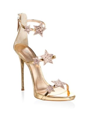 Coline Crystal Embellished Leather Sandals, Gold