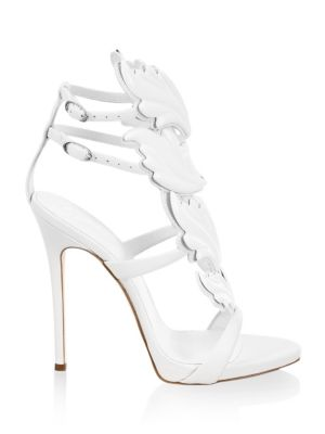 Women'S Cruel Coline Leather Wing Embellished High-Heel Sandals in White