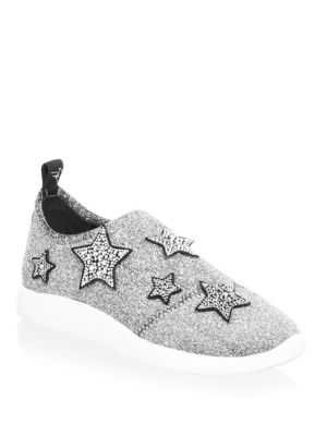 Alana Star Silver Fabric Slip On Sneaker With Stars, Argento