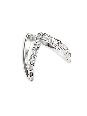 Image of Baguette diamonds embellish V-shaped gold ring Diamonds, 0.78 tcw Diamond color: G Diamond clarity: VS2 18K white gold Center width, 0.75 Made in USA. Fashion Jewelry - Modern Jewelry Designers. Anita Ko. Color: White Gold. Size: 6.