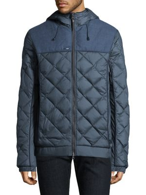 """Image of Down-filled jacket featuring a quilted exterior. Attached hood with adjustable drawstring. Long sleeves. Elasticized cuffs. Exposed front zip. Side slip pockets. Partially elasticized hem. Lined. About 29"""" from shoulder to hem. Nylon. Fill: Down. Machine"""