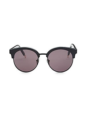 Image of Round sunglasses detailed with contrast polished hardware 55mm lens width; 147mm temple length 100% UV protection Tinted lens Case and cleaning cloth included Acetate/metal Imported. Soft Accessorie - Sunglasses. Gentle Monster. Color: Dark Grey.