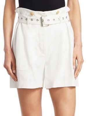 White Belted Flap Pockets Shorts, Ivory