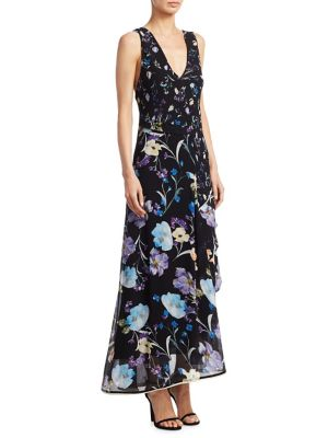 Woman Cutout Tiered Floral-Print Silk-Georgette Maxi Dress Black from LastCall.com