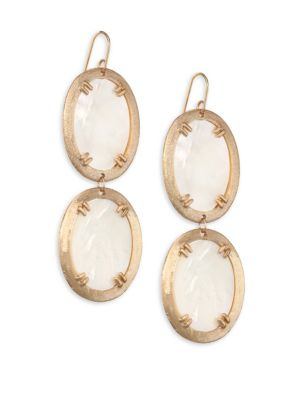 STEPHANIE KANTIS Paris Mother-Of-Pearl Double Oval Earrings in Yellow Gold