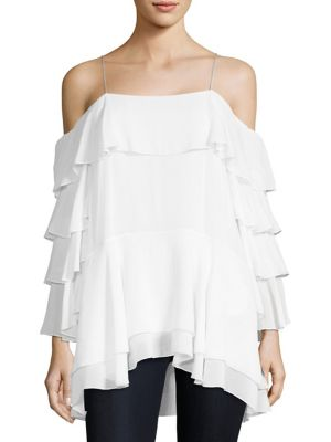 "Image of Chic layered ruffle silk-blend top. Scoopneck. Cold-shoulder. Spaghetti straps. Long sleeves. Lined. About 26"" from shoulder to hem. Silk/elastane. Dry clean. Imported. Model shown is 5'10"" (177cm) wearing a size Small."