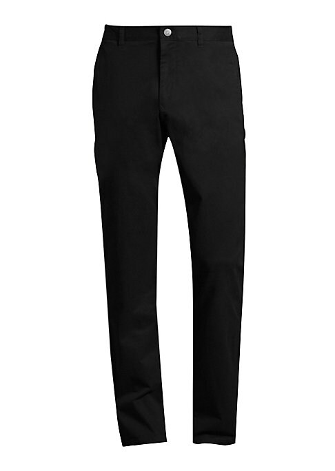 "Image of Casual cotton-blend pants in straight cut style. Belt loops. Zip fly with button closure. Side slip pockets. Back buttoned welt pockets. Slim-fit. Inseam, about 32"".Cotton/lycra. Machine wash. Imported."