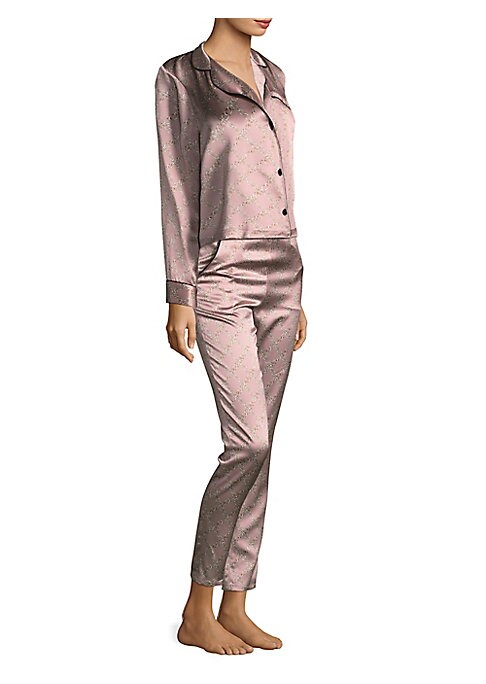 """Image of Silk pajama top with an allover chain print. Notch collar. Long sleeves. Banded cuffs. Button front. Chest welt pocket. Banded cuffs. About 26"""" from shoulder to hem. Silk. Hand wash. Imported."""