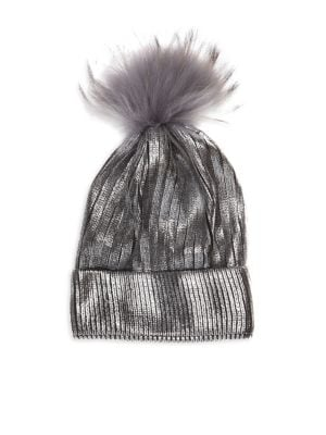 Bari Lynn Fox Fur Pom Pom Metallic Knit Hat