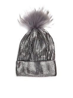 f479113aaec Bari Lynn. Kid s Fox Fur Pom-Pom Metallic Knit Hat