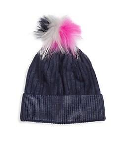 a7c3ec890ec Bari Lynn. Kid s Metallic Fox Fur Winter Hat