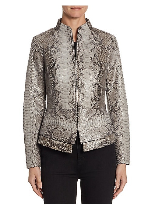"""Image of Exquisitely tailored exotic jacket with peplum. Stand collar. Long sleeves. Concealed front zip. Princess seams. Peplum waist. About 29"""" from shoulder to hem. Leather. Dry clean. Imported. Model shown is 5'10"""" (177cm) wearing size Small."""