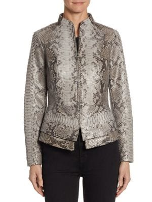 "Image of Exquisitely tailored exotic jacket with peplum. Stand collar. Long sleeves. Concealed front zip. Princess seams. Peplum waist. About 29"" from shoulder to hem. Python. Dry clean. Imported. Model shown is 5'10"" (177cm) wearing size Small."