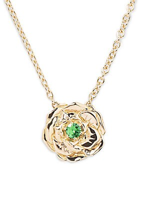 Image of Bouquet necklace in 18K yellow gold with rose pendant set with a tsavorite. Aurélie Bidermann drew her inspiration from her childhood memories for her new line of jewelry: the Bouquet collection. The wreaths she wove inspired today to the designer a colle
