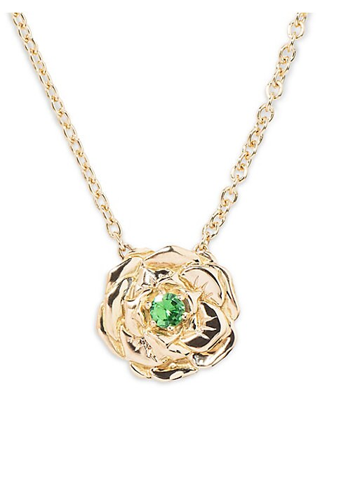 Image of Bouquet necklace in 18K yellow gold with rose pendant set with a tsavorite. Aurelie Bidermann drew her inspiration from her childhood memories for her new line of jewelry: the Bouquet collection. The wreaths she wove inspired today to the designer a colle