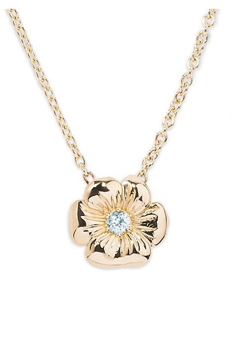 Image of Bouquet necklace in 18K yellow gold with pendant in the shape of a thought set with a sky blue Topaz. Aurelie Bidermann drew her inspiration from her childhood memories for her new line of jewelery: the Bouquet collection. The wreaths she wove inspired to
