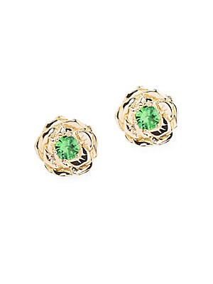 "Image of 18K yellow gold rose single earring with tsavorite center stone. 18K yellow gold Tsavorite Post back Made in France SIZE Diameter, 3.75"". Fashion Jewelry - Modern Jewelry Designers. Aurélie Bidermann. Color: Yellow Gold."