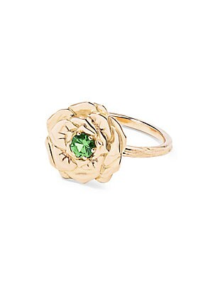 "Image of 18K yellow gold rose ring with tsavorite center stone 18K yellow gold Tsavorite Width, 0.55"" Made in France. Fashion Jewelry - Modern Jewelry Designers. Aurélie Bidermann. Color: Yellow Gold. Size: 6."