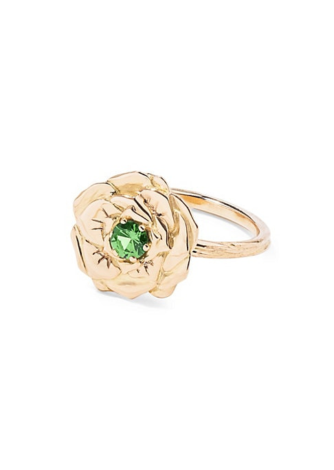 "Image of 18K yellow gold rose ring with tsavorite center stone .18K yellow gold. Tsavorite. Width, 0.55"".Diameter, 2.75"".Made in France."