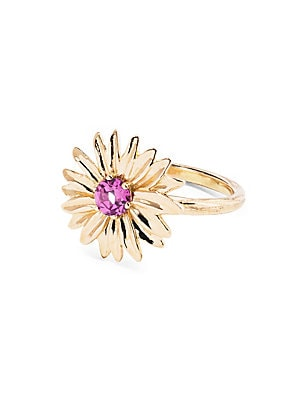 "Image of 18K yellow gold floral ring with rhodolite garnet center stone 18K yellow gold Rhodolite garnet Width, 0.6"" Made in France. Fashion Jewelry - Modern Jewelry Designers. Aurélie Bidermann. Color: Yellow Gold. Size: 6."