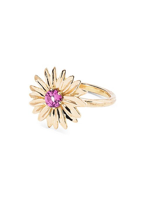 "Image of 18K yellow gold floral ring with rhodolite garnet center stone.18K yellow gold. Rhodolite garnet. Width, 0.5"".Diameter, 1"".Made in France."