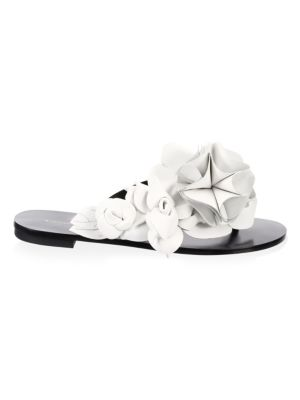 Women'S Jumbo Lilico Flower Open Toe Leather & Suede Slide Sandals, Black White